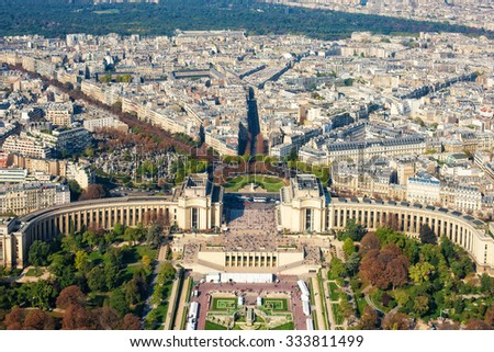 Aerial view of Paris from the Eiffel Tower, Paris, France