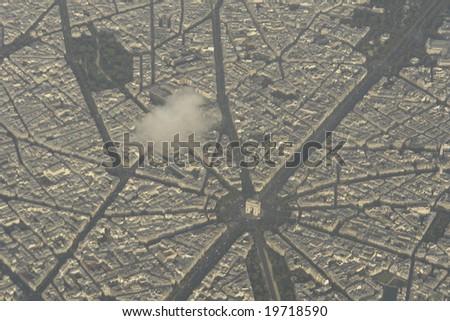 "Aerial view of paris over ""l'Arc de Triomphe"". - stock photo"