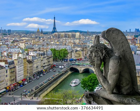 Aerial View of Paris - The Gargoyles of Notre Dame - Paris, France  - stock photo