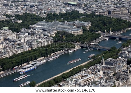 Aerial view of Paris; the Grand Palais can be seen in the center - stock photo