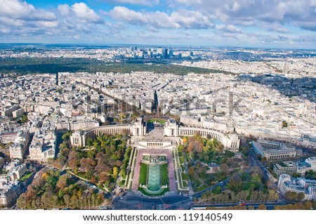 Aerial view of Paris, Trocadero, from Eiffel Tower - stock photo