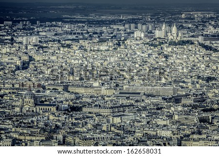 Aerial view of Paris with Sacre Coeur Basilica on the hill, France - stock photo