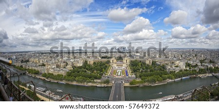 Aerial view of Paris with the Eiffel tower. - stock photo