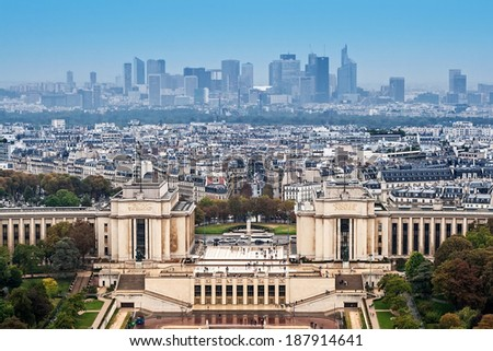 Aerial view of Paris with Trocadero and skyscrapers from Eiffel Tower  - stock photo