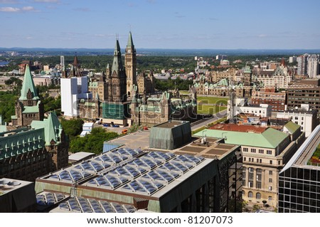 Aerial view of Parliament Buildings and downtown skyline, Ottawa, Ontario, Canada - stock photo