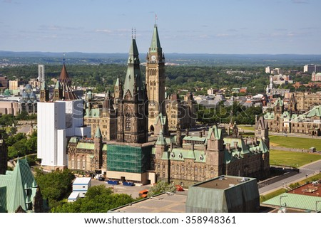Aerial view of Parliament Buildings, Ottawa, Ontario, Canada - stock photo