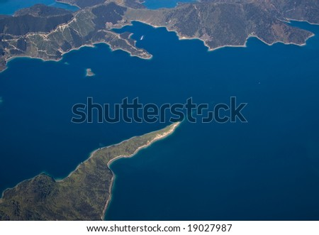 Aerial view of part of the Marlborough Sounds, South Island, New Zealand - stock photo
