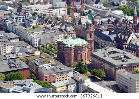 Aerial view of Paulskirche (St. Paul's church) from the Main tower, Frankfurt am Main, Germany. - stock photo