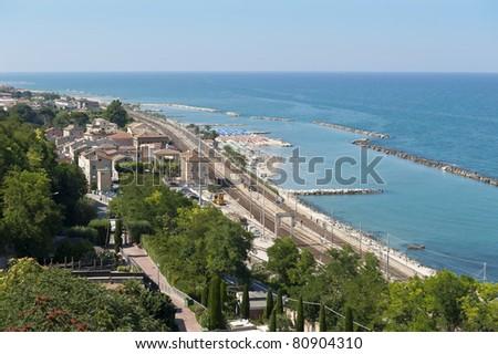 Aerial view of Pedaso (AP), on the Adriatic coast. Marche region, Italy. - stock photo