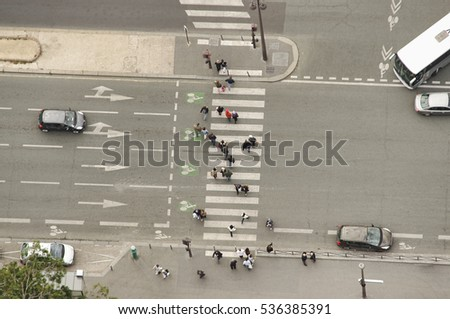 aerial view of pedestrian crossing on street