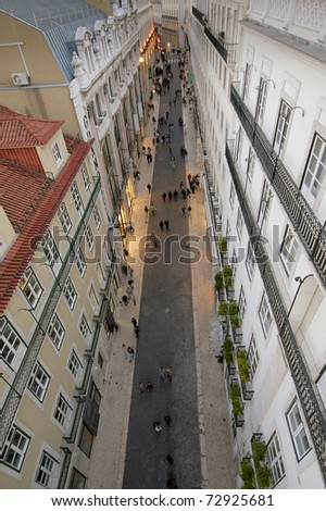 Aerial view of Pedonal street at Lisbon's Chiado district - stock photo