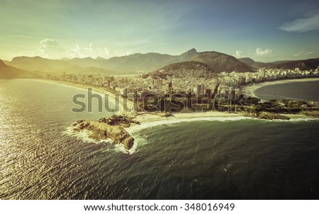 Aerial view of peninsula on the beach in Rio de Janeiro, Brazil - stock photo