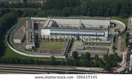 Aerial view of penitentiary prison in Hoorn, Holland. - stock photo