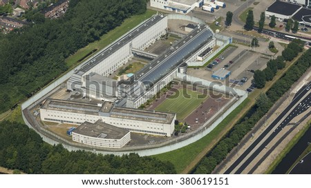 Aerial view of penitentiary prison in Hoorn, Netherlands. - stock photo