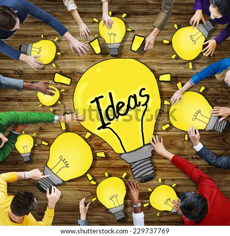Aerial View of People and Ideas Concepts - stock photo