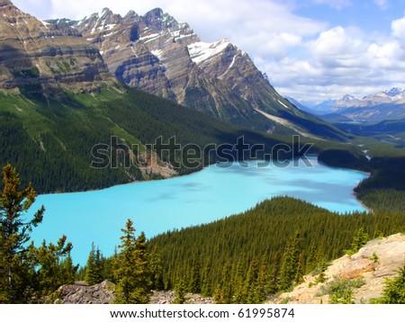 Aerial view of Peyto Lake, Banff National Park, Canada - stock photo