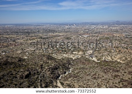 Aerial view of Phoenix arizona from South Mountain - stock photo