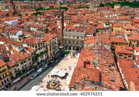 Aerial view of Piazza delle Erbe in center of Verona, Italy - stock photo