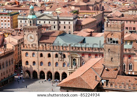 Aerial view of Piazza Maggiore in Bologna city, Italy - stock photo