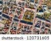 aerial view of Pinczow town in Poland - stock photo