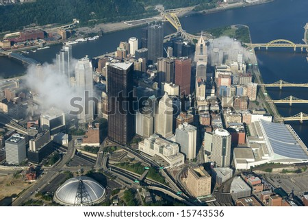 Aerial view of Pittsburgh, Pennsylvania. - stock photo