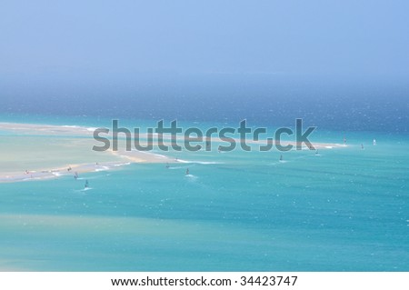 Aerial view of Playa de Sotavento, Canary Island Fuerteventura, Spain - stock photo