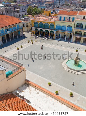 Aerial view of Plaza Vieja and its surrounding buildings in Old Havana - stock photo