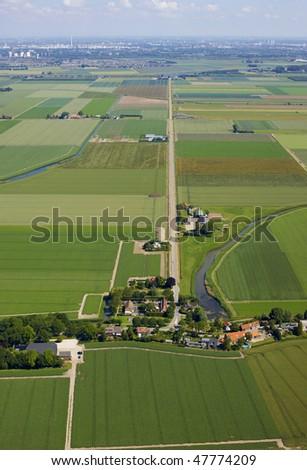 Aerial view of polder near Rotterdam, Holland. - stock photo