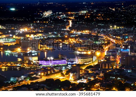 Aerial view of Port-Louis capital of Mauritius at night