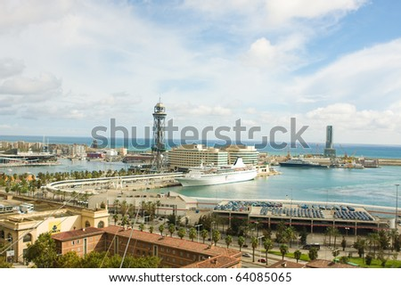 Aerial view of Port Vell Barcelona - stock photo