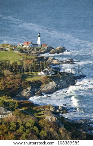 Aerial view of Portland Head Lighthouse, Cape Elizabeth, Maine - stock photo