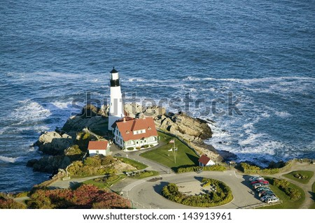 Aerial view of Portland Head Lighthouse, Cape Elizabeth, Maine - stock photo