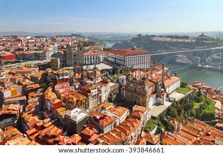 Aerial view of Porto - stock photo