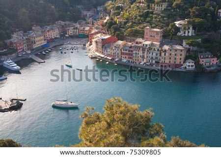 Aerial view of Portofino, italy in a sunny summer day - stock photo