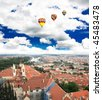 Aerial view of Prague City and river Vltava in Czech - stock photo