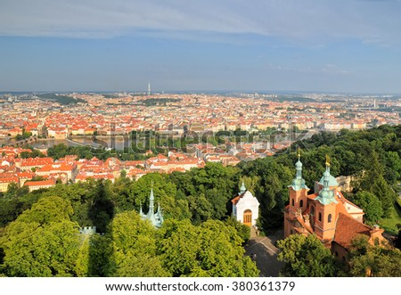 Aerial view of Prague City and Saint Lawrence Cathedral  from Petrin Hill
