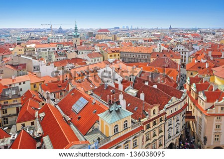 Aerial view of Prague city, Czech republic - stock photo