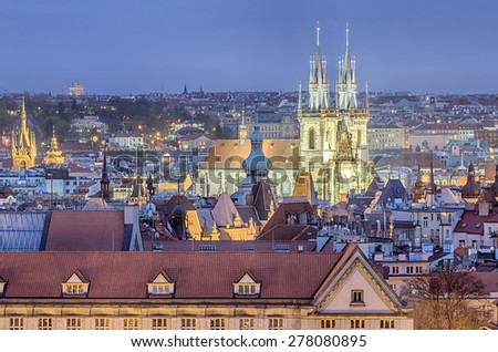 Aerial view of Prague (Czech Republic) in the sunset - stock photo