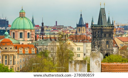 Aerial view of Prague (Czech Republic). Towers of churches in Old Town of the city.  - stock photo
