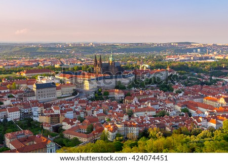 Aerial view of Prague from Petrin Hill Observation Tower, Czech Republic.