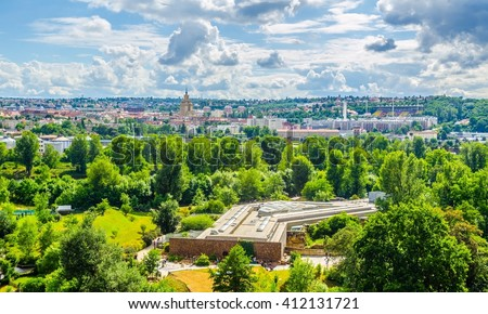 aerial view of prague taken from the prague zoo - stock photo