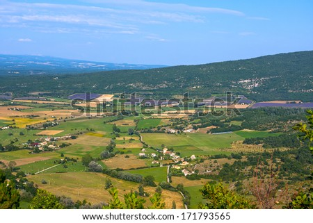 Aerial view of Provence and the lavender fields, France - stock photo