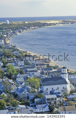Aerial View of Provincetown, Massachusetts - stock photo