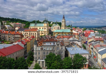 Aerial view of Przemysl town historical center from a tower at summer sunny day, Poland