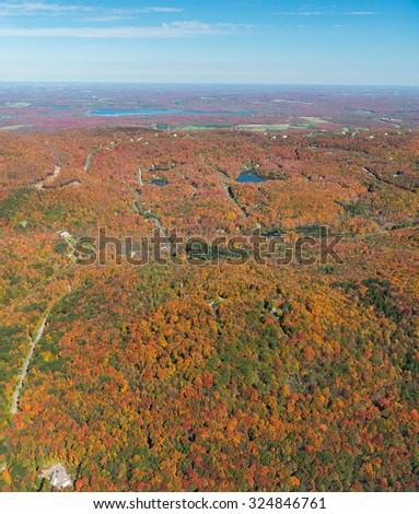 Aerial view of Quebec's Monteregie during foliage season - stock photo