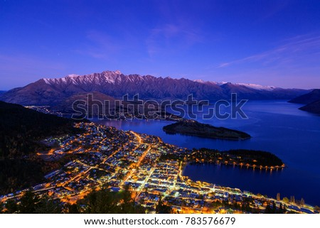 Aerial view of Queenstown downtown at dusk twilight, South Island, New Zealand