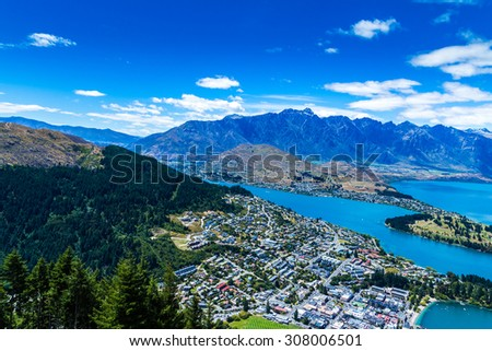 Aerial view of Queenstown in South Island, New Zealand - stock photo