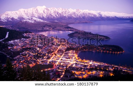 Aerial View of Queenstown with City Lights, New Zealand - stock photo