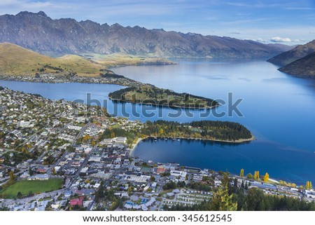 Aerial view of Queenstown with lake Wakatipu
