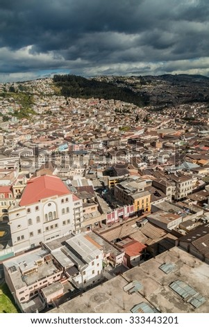 Aerial view of Quito, capital of Ecuador